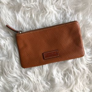 Dooney & Bourke Leather Brown Pouch Wallet ID Slot